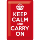 Blechschild 'Keep calm and carry on'
